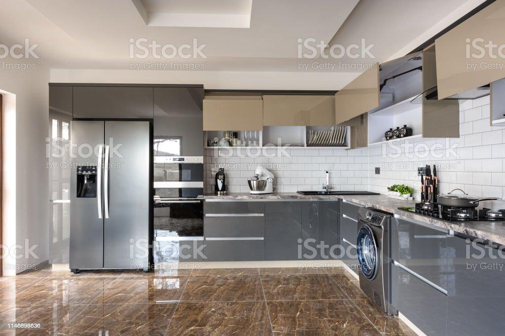 Luxury Modern White Beige And Grey Kitchen Interior Stock ...