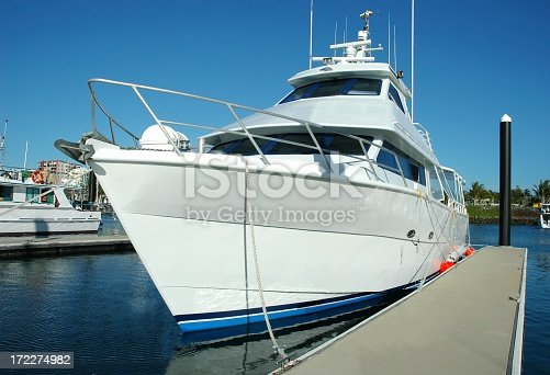 Large luxury motor yacht in a marina. Click to see more...