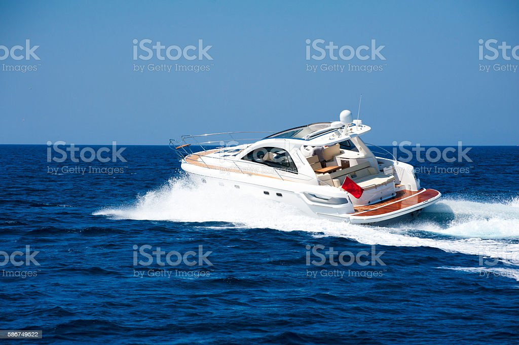 luxury motor yacht stock photo