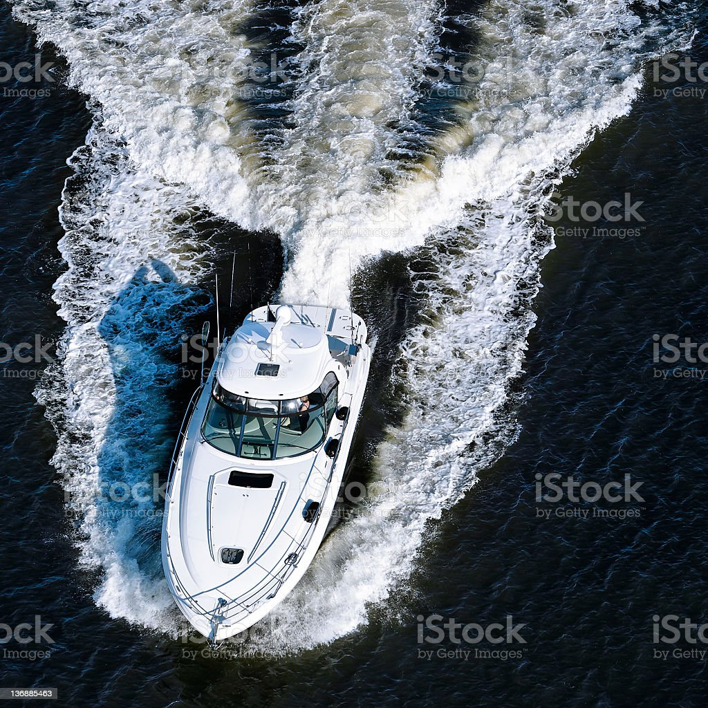 luxury motorboat stock photo