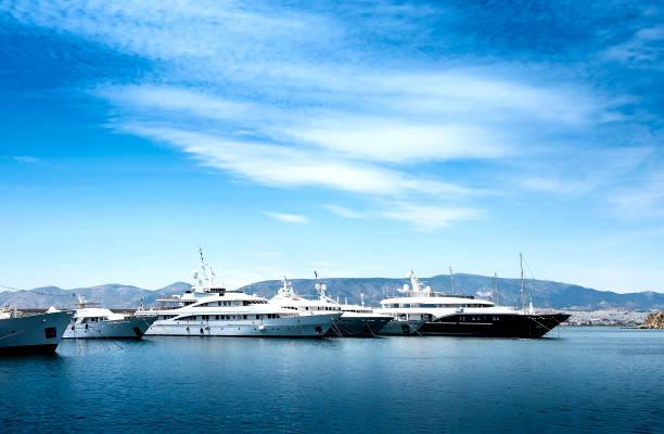 Luxury motorboats and yachts at the dock.Marina Zeas, Piraeus,Greece stock photo