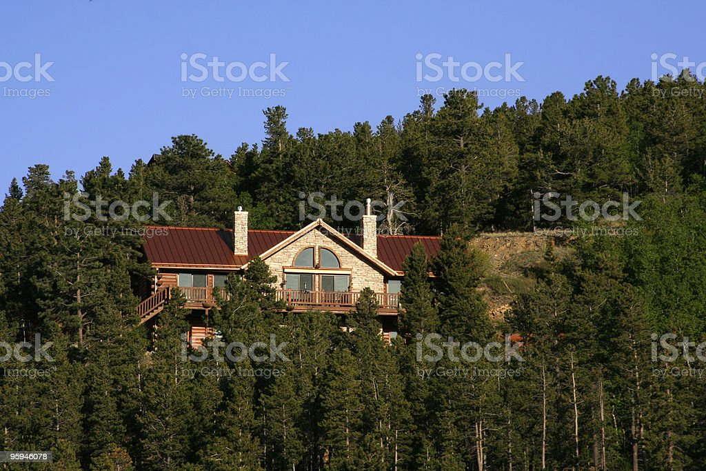 Luxury Mountain Home in the Trees stock photo
