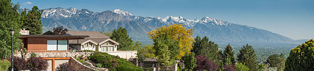 luxury mountain view homes panorama - skyline mountains usa stock photos and pictures