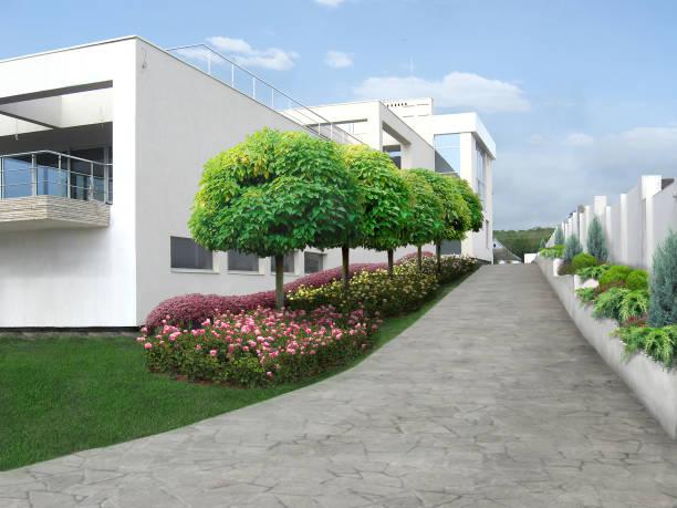 luxuriöse nachbarschaft architektur design-ideen, 3d-rendite - moderner dekor für ferienhaus stock-fotos und bilder