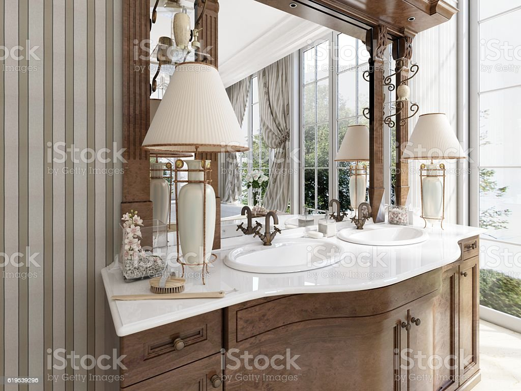 Luxury neoclassical furniture in modern style in the bathroom. stock photo