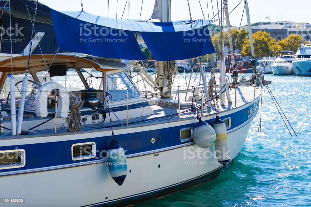 Luxury new cruising sailboat bow view from port side. stock photo