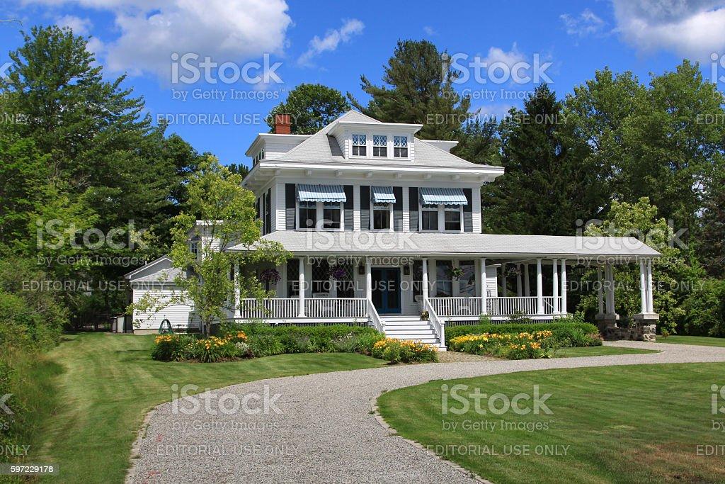 Luxury New England House Among Trees, Kennebunkport, Maine, USA. stock photo