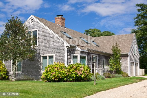Chatham, MA, USA - September 15, 2014: Luxury New England Home in Chatham, Cape Cod, Massachusetts, USA. Canon EF 24-105mm f/4L IS lens.