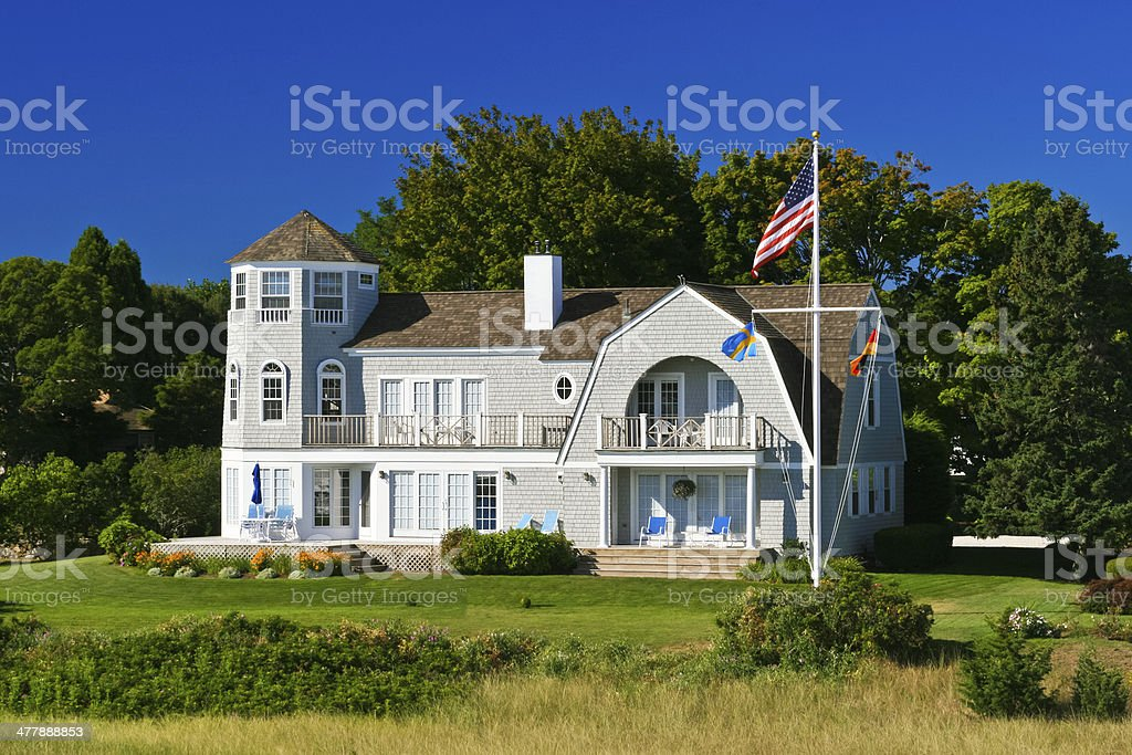 Luxury New England House, Hyannis, Cape Cod, Massachusetts, Blue sky. stock photo