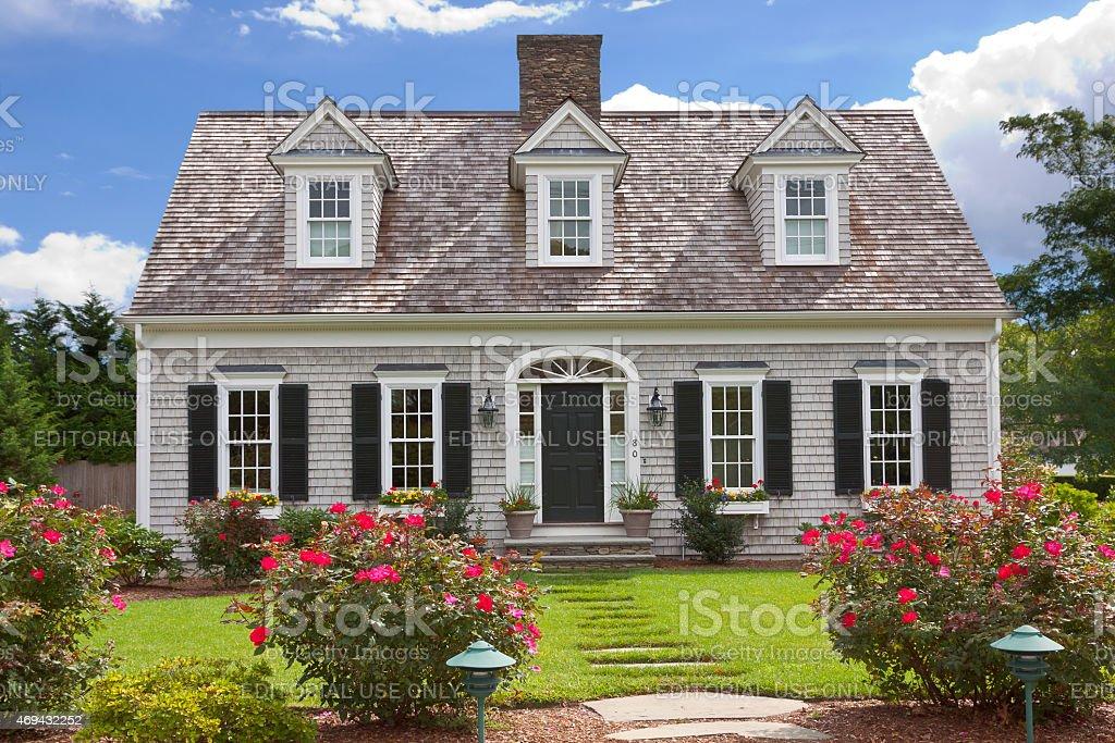 Luxury New England House, Hyannis, Cape Cod, Massachusetts, USA. stock photo