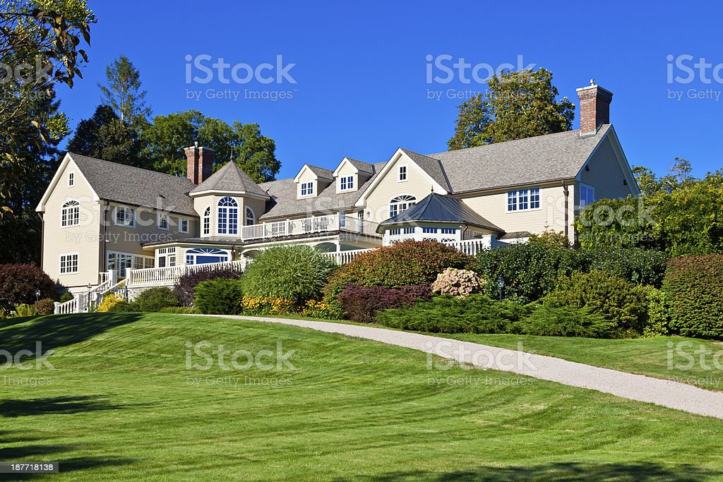 Luxury New England House, Kennebunkport, Maine. stock photo