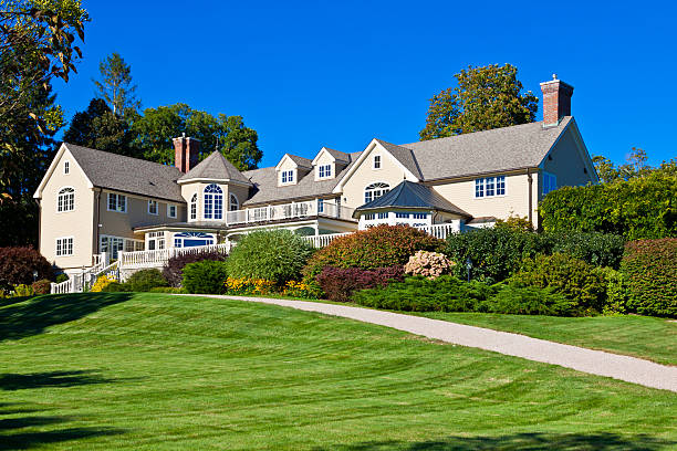luxury new england house, kennebunkport, maine. - stately home stock photos and pictures