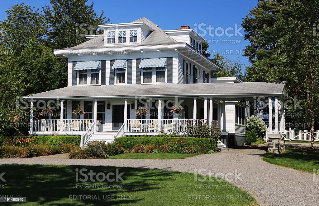 Luxury New England House, Kennebunkport, Maine, USA. stock photo