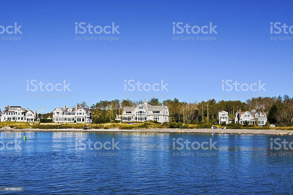 Luxury New England Houses, Kennebunkport, Maine. stock photo