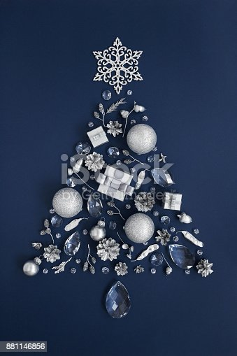 istock Luxury New Year tree made of crystal and silver Christmas decorations 881146856