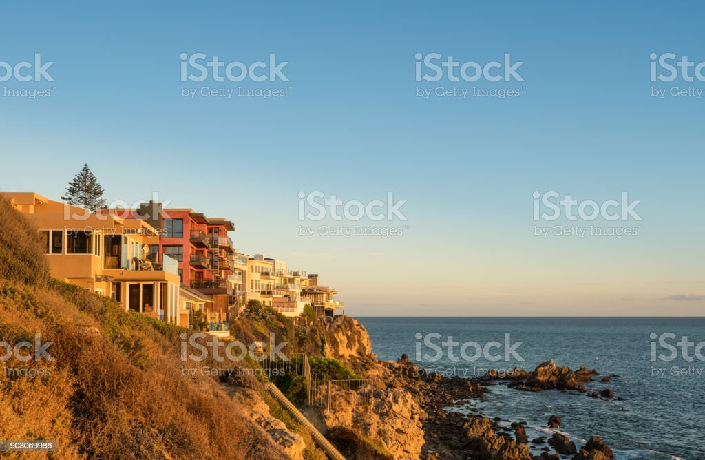 Luxury oceanside homes at Corona del Mar near Newport Beach stock photo