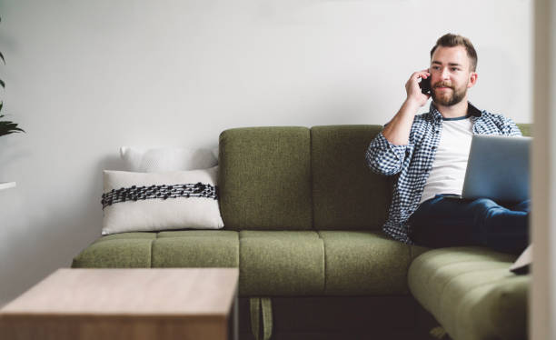 Luxury of working from home as a freelancer stock photo