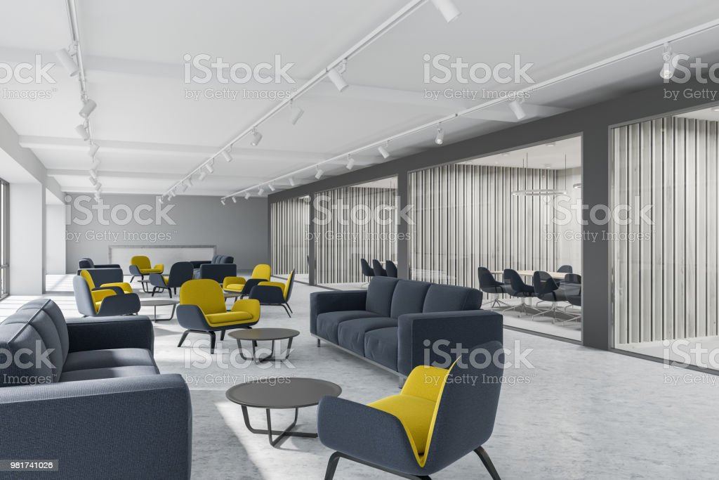 Luxury office corridor, gray meeting room stock photo