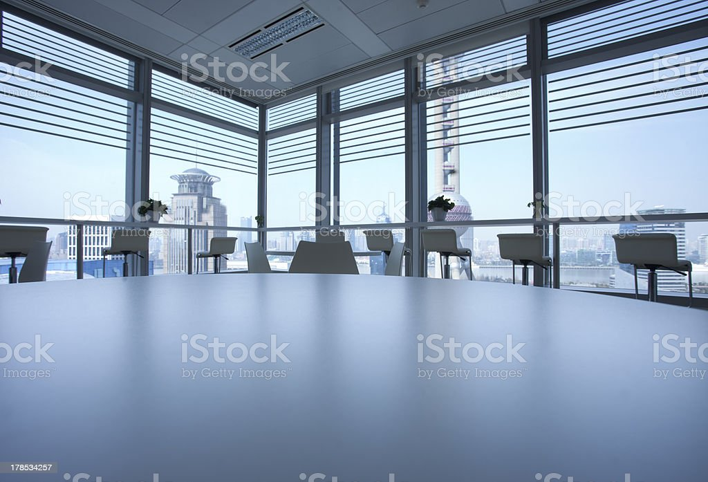 Luxury Office indoor against background of  Oriental pearl tower royalty-free stock photo