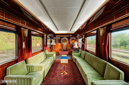 interior of luxury vinitage old train carriage from 1950