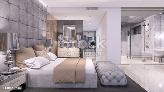 Luxury hotel like bedroom interior with large bed, seat, and terrace. expensive marble wall and large bathroom with glass wall. copy space render
