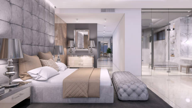 Luxury open plan bedroom interior with bathroom with glass wall Luxury hotel like bedroom interior with large bed, seat, and terrace. expensive marble wall and large bathroom with glass wall. copy space render luxury hotel room stock pictures, royalty-free photos & images