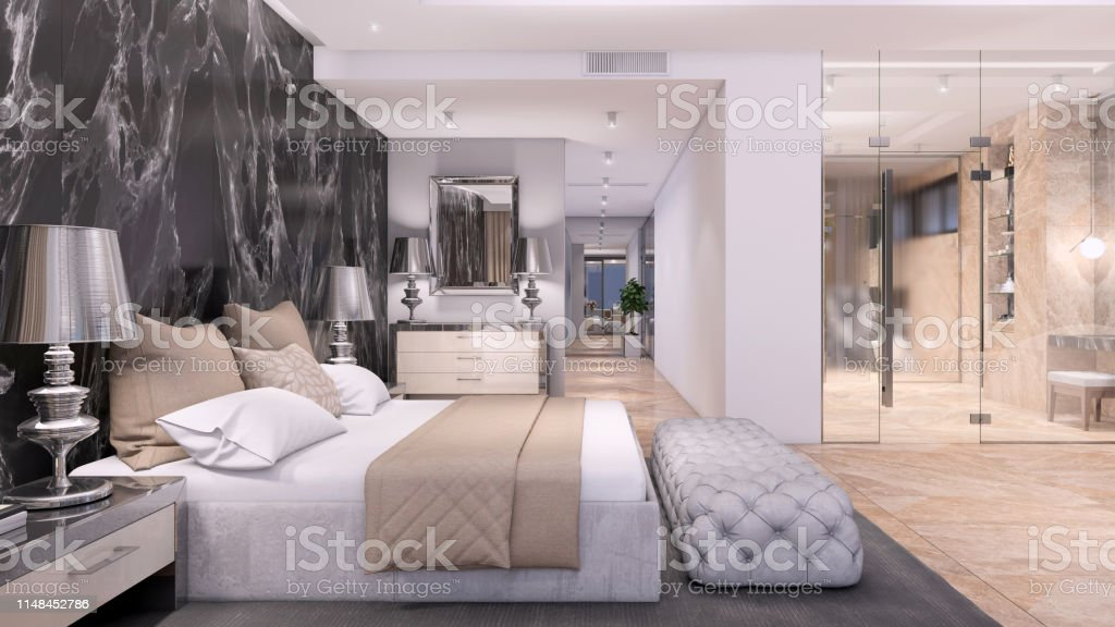 Luxury Open Plan Bedroom Interior With Bathroom With Glass Wall Stock Photo Download Image Now Istock