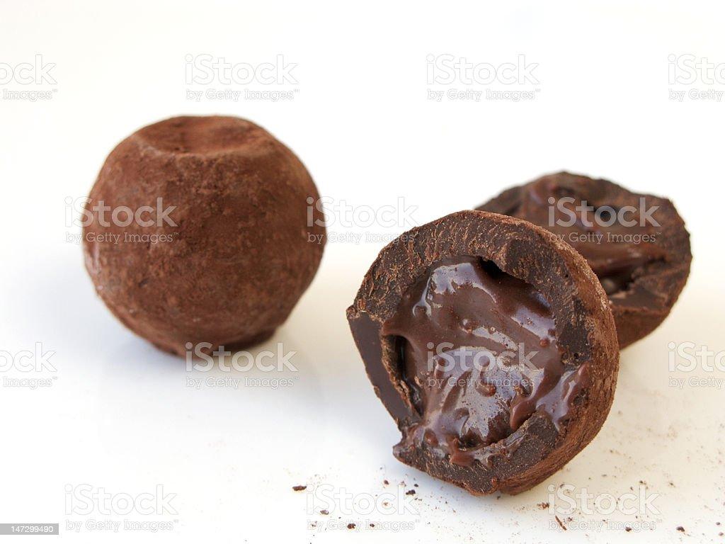 luxury organic chocolate truffles with smooth ganache centre stock photo