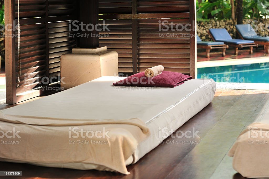 Luxury outdoor massage area stock photo
