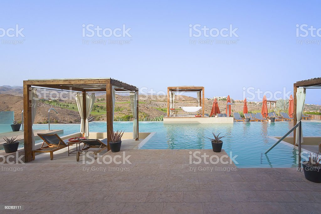 Luxury Outdoor Pool Spa stock photo