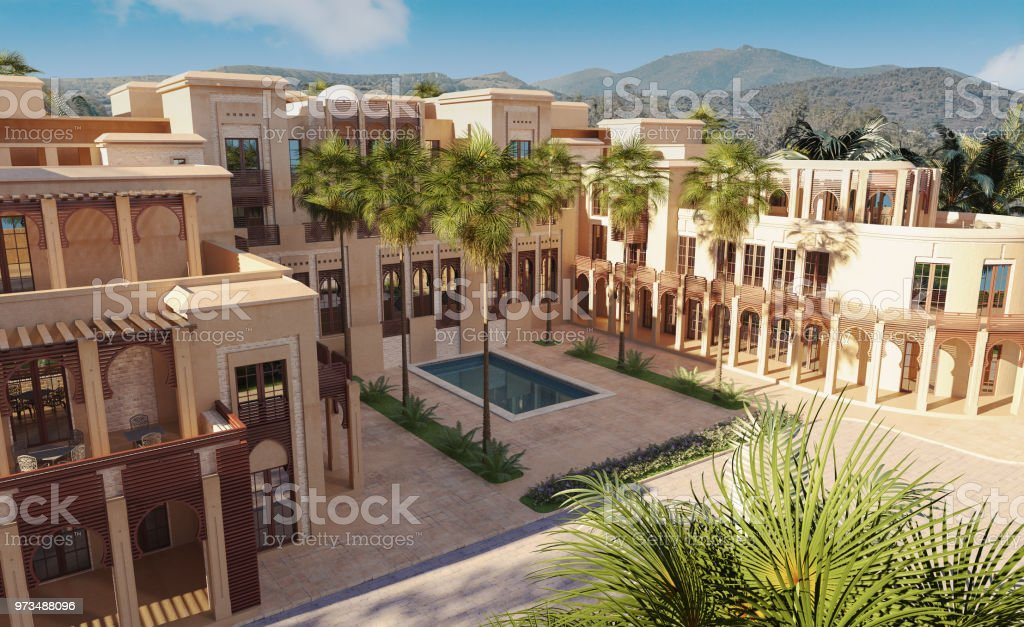 Luxury palace in mountains stock photo