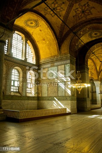 Luxury Interior of Ayasofia converted mosque in Istanbul, Turkey.More like this photo in: