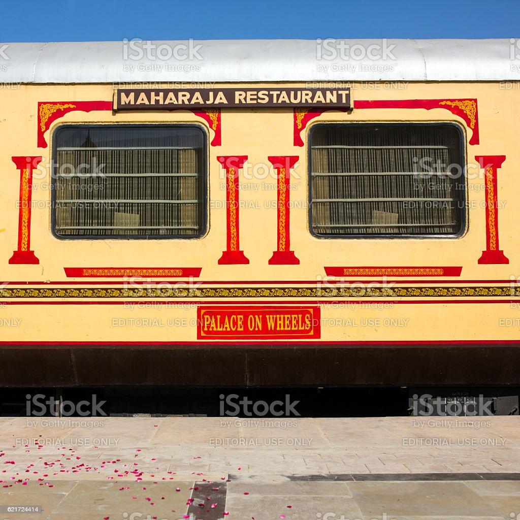 Luxury «Palace on Wheels» train in India stock photo