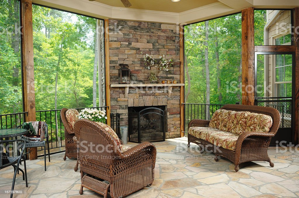 A luxury patio with large windows stock photo
