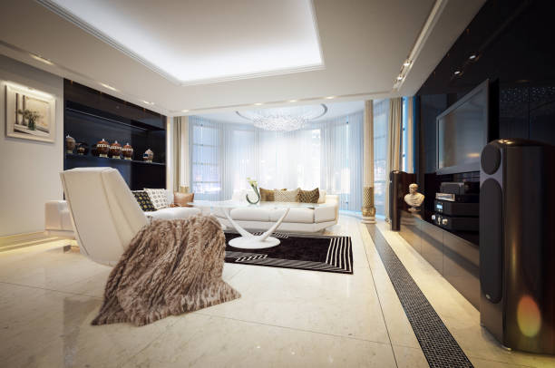 Luxury Penthouse Digitally generated luxurious home (penthouse) interior design.  This interior design illustrates the epitome of luxury and wealth.  The scene was rendered with photorealistic shaders and lighting in Autodesk® 3ds Max 2016 with V-Ray 3.6.  *Note: The image in the artwork on the wall, is made by me and is from my iStock Portfolio -> Stock photo ID:913527268 (Upload date:February 05, 2018).  The image was retouched (color image -> brush strokes artistic effects + auto tone) and resized to fit the frame. penthouse stock pictures, royalty-free photos & images