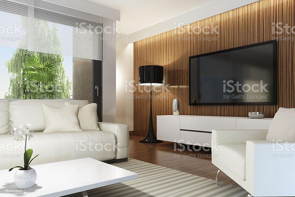 Luxury Penthouse TV Room royalty-free stock photo