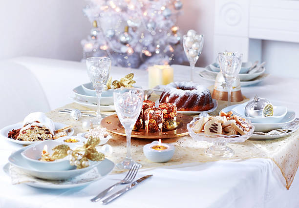 Luxury place setting for Christmas stock photo