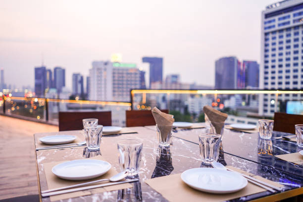 luxury private dinner rooftop in Bangkok, Thailand stock photo
