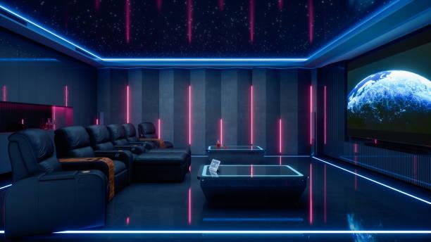 Luxury Private Home Cinema Room stock photo