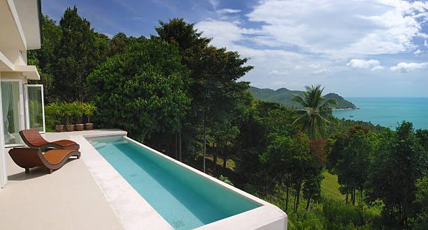luxury villa mit eigenem pool - ferienhaus thailand stock-fotos und bilder