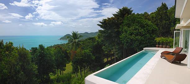 luxury private pool villa (xxxl - ferienhaus thailand stock-fotos und bilder