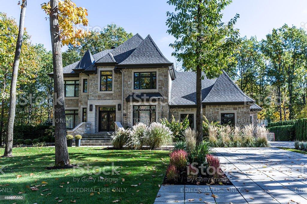 Luxury Property on Sunny Day of Autumn stock photo