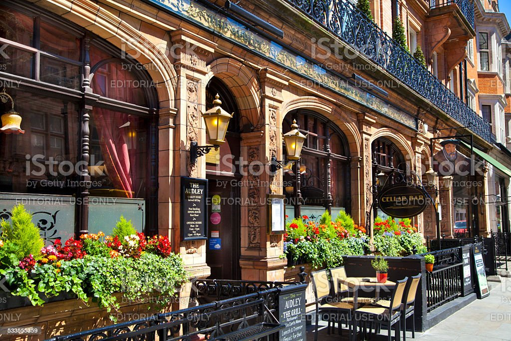 Luxury public house in Mayfair, London stock photo