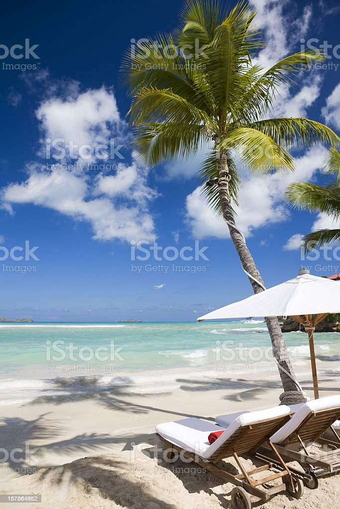 Luxury recliner chairs and umbrella on beach stock photo