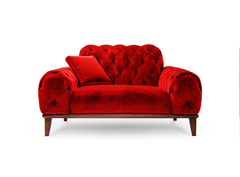 Luxury red armchair on white background, included clipping path