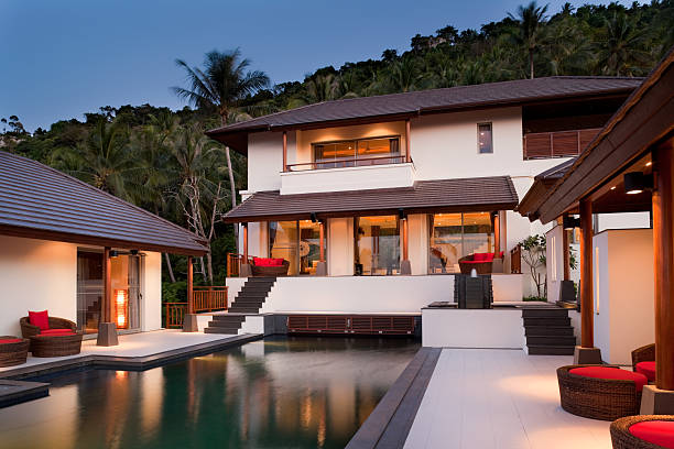 luxury residence - hawaii home stock photos and pictures