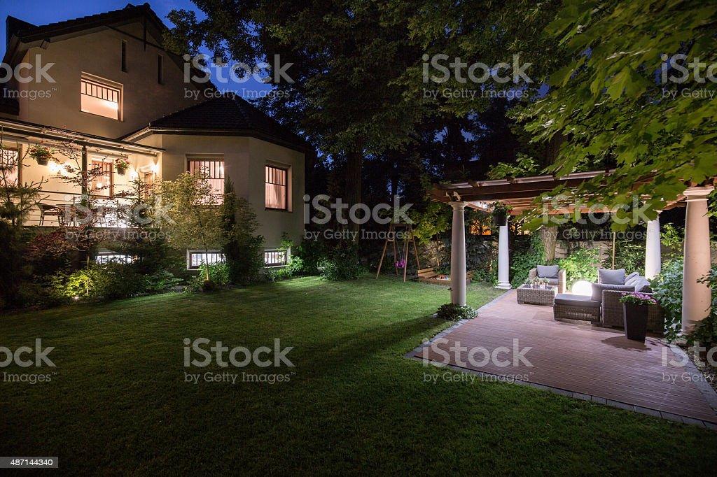 Luxury residence with beauty patio stock photo