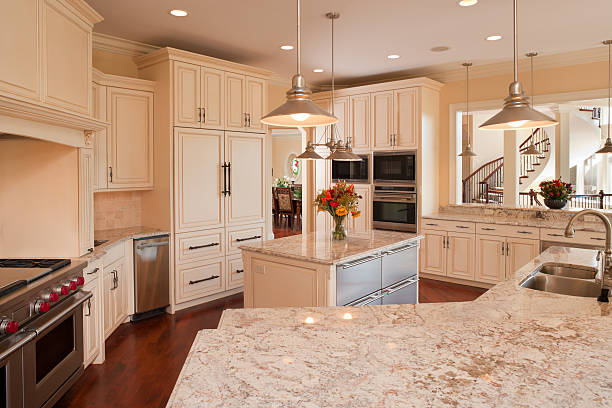 Luxury residential kitchen with stainless and granite. stock photo