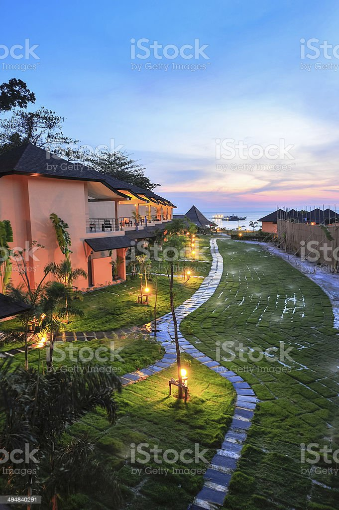 Luxury Resort At Sunset In Thailand Paradise Stock Photo