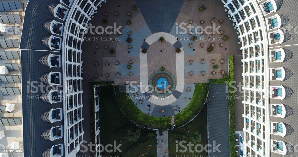 Luxury resort hotel building aerial view